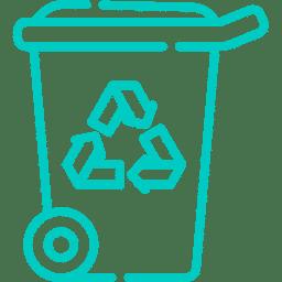Piktogramm Mülltonne mit Recyceln-Symbol 3Pfeile - Penibel Entrümpeln Deutschlandweit