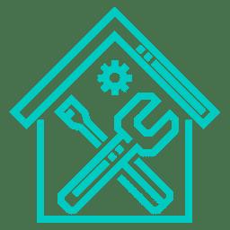 Piktogramm Haus mit Werkzeugsymbol und Zahnrad - Penibel Entrümpeln Deutschlandweit