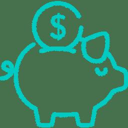 Piktogramm Sparschwein mit Dollarmünze - Penibel Entrümpeln Deutschlandweit